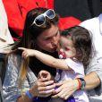 """""""Arantxa Sanchez Vicario, son époux Josep Santacana et leur fille Arantxa, à Lérida (nord-est de l'Espagne), le 16 avril 2011."""""""