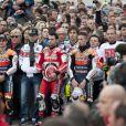 Valentino Rossi, vêtu d'un t-shirt numéro 58 et tous les pilots ont observé une minute de silence en hommage à Marco Simoncelli lors du grand prix de Valence le 6 novembre 2011
