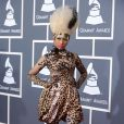 Nicki Minaj se transforme en léopard avec l'aide de Givenchy Couture pour son arrivée aux Grammy Awards. Los Angeles, le 13 février 2011.