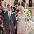 Andrea Casiraghi et Beatrice Borromeo au mariage du prince Albert et Charlene Wittstock en juillet 2011.