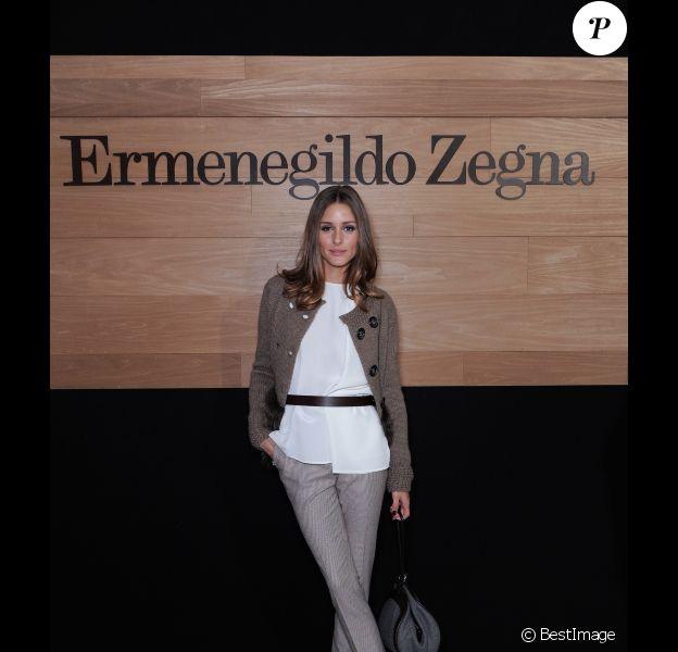 Olivia Palermo s'est rendue au défilé Ermenegildo Zegna à Milan, le 14 janvier 2012.