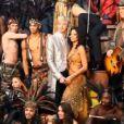 Pascal Obispo et la troupe d' Adam & Eve , dans les coulisses du spectacle, janvier 2012.