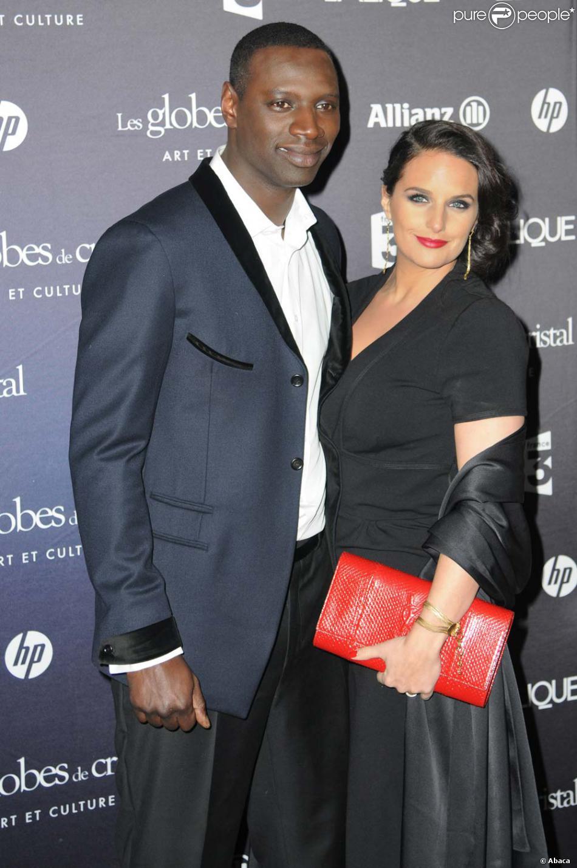 Omar Sy et sa femme Hélène à la cérémonie des Globes de cristal, au Lido à Paris, le 6 février ...