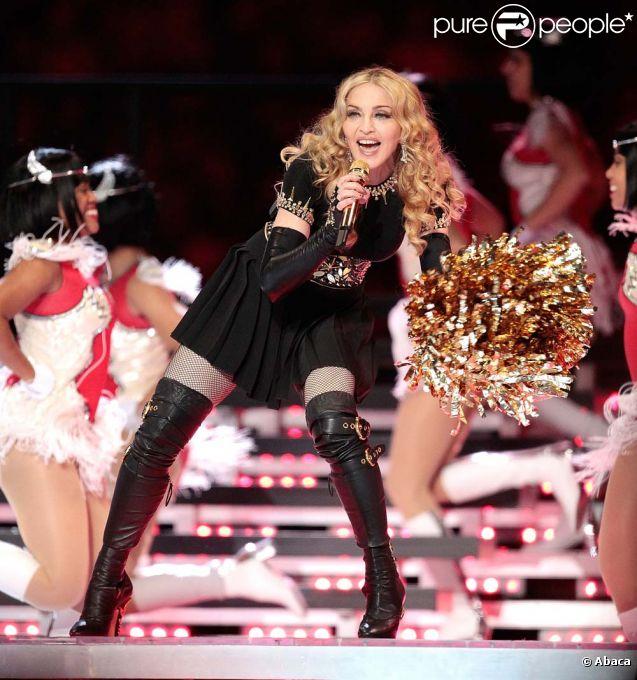Madonna au Super Bowl à Indianapolis, le 5 février 2012.