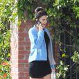 Eva Longoria sur le tournage de la dernière saison de Desperate Housewives. Elle partage un bon moment avec son partenaire Ricardo Chavira à Los Angeles le 13 février 2012
