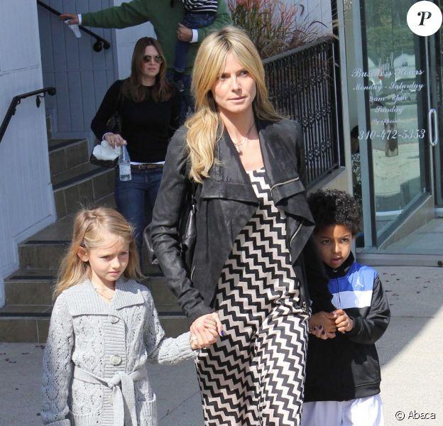 Heidi Klum et ses enfants à Los Angeles le 18 février 2012