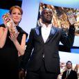 Omar Sy et Bérénice Bejo, meilleurs acteur et actrice, lors des César 2012 le 24 février