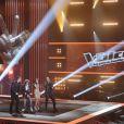 Les quatre coachs de The Voice, Jenifer, Garou, Florent Pagny et Louis  Bertignac chantent Rolling in the Deep dans The Voice, samedi 25 février  sur TF1