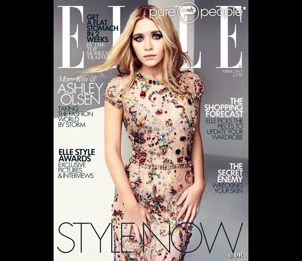 Ashley Olsen habillée d'une robe Dolce & Gabbana en couverture du magazine Elle UK d'avril 2012.