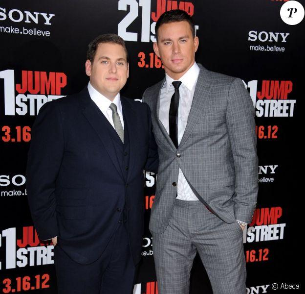 Jonah Hill et Channing Tatum à l'avant-première du film 21 Jump Street, à Los Angeles le 13 mars 2012