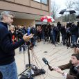 George Clooney après avoir été relâché à Washington le 16 mars 2012, a tenu un point presse