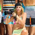 Ashley Benson sur le tournage de Spring Breakers, en Floride, le mercredi 28 mars 2012.