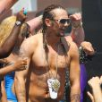 James Franco sur le tournage de Spring Breakers, en Floride, le mercredi 28 mars 2012.