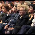 Rachida Dati au premier rang du meeting de Nicolas Sarkozy entourée de Bernadette Chirac et Nathalie Kosciusko-Morizet le 27 mars 2012