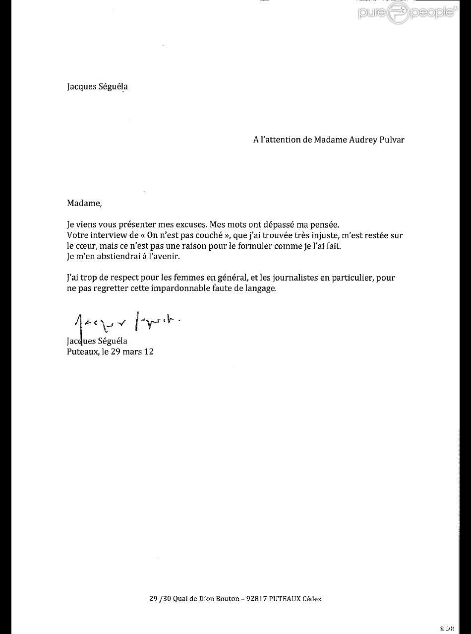 La lettre d'excuses de Jacques Séguéla Audrey Pulvar, le 29 mars