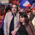 Jean Sarkozy et sa femme Jessica le 31 mars 2012 à Paris pour un meeting avec les Jeunes de l'UMP