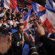 Nicolas Sarkozy le 31 mars 2012 à Paris pour un meeting avec les Jeunes de l'UMP