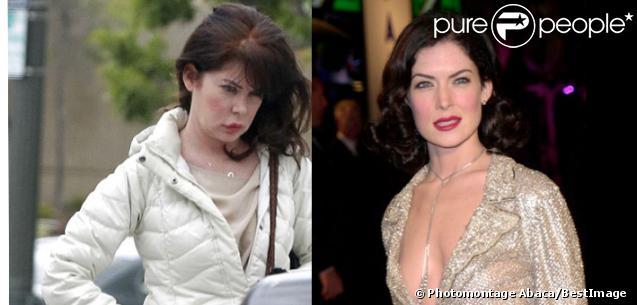 Lara Flynn Boyle métamorphosée par la chirurgie : à gauche, photo prise à Los Angeles en mars 2012 ; à droite, photo prise en l'an 2001.