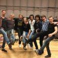 Johnny Hallyday en répétitions avec ses musiciens avant son premier concert à Los Angeles le 24 avril 2012.