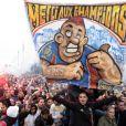 """""""Les supporters du club de la Paillade sont venus acclamer leurs joueurs et leur président Loulou Nicollin le 21 mai 2012 à Montpellier après leur titre de champion de France de Ligue 1 acquis la veille"""""""
