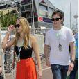 Jennifer Lawrence et Nicholas Hoult lors des essais du Grand Prix de Formule 1 à Monaco le 26 mai 2012