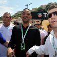 Will Smith tout sourire lors des essais du Grand Prix de Formule 1 à Monaco le 26 mai 2012