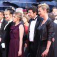 Julie Depardieu enceinte aux côtés de Ludivine Sagnier, Cécile de France et Patrick Bruel, lors de la cérémonie de clôture du Festival de Cannes, le 27 mai 2012.