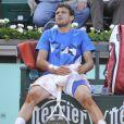 Grigor Dimitrov paralysé par les crampes lors de son match perdu face à Richard Gasquet le 31 mai 2012 à Roland-Garros