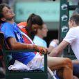 Grigor Dimitrov épuisé lors de son match perdu face à Richard Gasquet le 31 mai 2012 à Roland-Garros