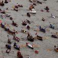 Image de la parade fluviale sur la Tamise pour le jubilé de diamant de la reine Elizabeth II, le 3 juin 2012.