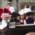 Kate Middleton lors de la cérémonie de l'Ordre de la Jarretière au château Windsor, à Londres, le 18 juin 2012