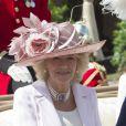 Camilla Parker Bowles lors de la cérémonie de l'Ordre de la Jarretière au château Windsor, à Londres, le 18 juin 2012