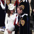 La belle Kate Middleton et le prince William lors de la cérémonie de l'Ordre de la Jarretière se déroulant du château Windsor à la chapelle Saint Georges, le 18 juin 2012