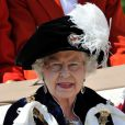 Elizabeth II lors de la cérémonie de l'Ordre de la Jarretière se déroulant du château Windsor à la chapelle Saint Georges, le 18 juin 2012
