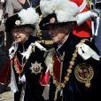 La reine Elizabeth II et le prince Philip lors de la cérémonie de l'Ordre de la Jarretière se déroulant du château Windsor à la chapelle Saint Georges, le 18 juin 2012