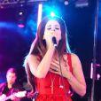 Lana Del Rey chante lors du Festival BBC Radio 1 Hackney Weekend à Victoria Park à Londres le 24 juin 2012
