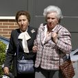 Les infantes Margarita et Pilar d'Espagne le 12 avril 2008.   L'infante Margarita d'Espagne, soeur du roi Juan Carlos Ier, a dû être hospitalisée en raison d'une forte fièvre début juillet 2012, renonçant à une cérémonie de la Fondation des Ducs de Soria.