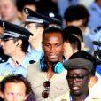 Didier Drogba, nouveau joueur du Shanghai Senshua, arrive à l'aéroport le 14 juillet 2012