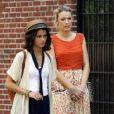 Blake Lively dans les rues de New York sur le tournage de Gossip Girl. Le 17 juillet 2012