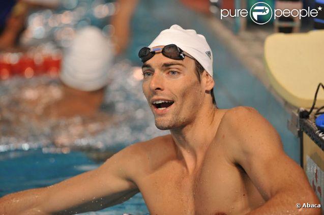 Camille Lacourt le 18 juillet 2012 à Dunkerque durant sa préparation olympique avec l'équipe de France