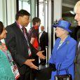 Elizabeth II et son époux le duc d'Edimbourg lors des JO de Londres, le 28 juillet 2012.