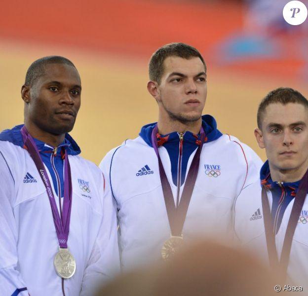 Gregory Bauge, Kevin Sireau et Michael D'Almeida lors de l'épreuve de vitesse olympique par équipe le 2 août 2012 à Londres