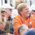 Le prince Willem-Alexander des Pays-Bas a suivi en compagnie de son épouse la princesse Maxima et de son ami le prince Albert II de Monaco le concours de saut d'obstacles par équipes des Jeux olympiques de Londres, le 6 août 2012, à Greenwich Park.