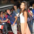 Malika Ménard profite de la bonne ambiance au Club France lors des Jeux olympiques de Londres, le 12 août 2012