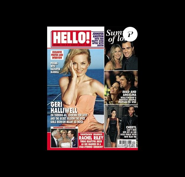 Geri Halliwell en couverture du magazine Hello! à l'occasion de son 40e anniversaire et de ses vacances dans le sud de la France. Août 2012.