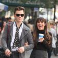 Lea Michele et Chris Colfer sur le tournage de  Glee , le 13 août 2012.