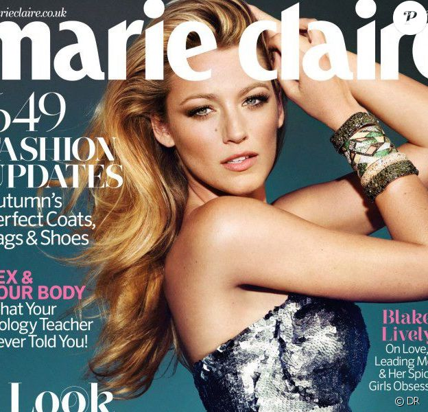 Blake Lively en couverture du magazine Marie Claire, édition britannique, octobre 2012.
