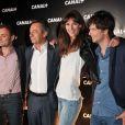 Augustin Trapenard, Michel Denisot, Doria Tillier et Vincent Glad lors de la soirée Canal + à la Cité de la Mode et du Design à Paris le 6 septembre 2012