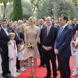 Albert de Monaco et Charlene à l'inauguration du nouveau siège du Conseil National monégasque, le 12 septembre 2012.