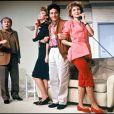 Pierre Mondy, Julie Arnold, Christian Clavier et Marie-Anne Chazel la pièce Double Mixte 04/11/1986 - Paris